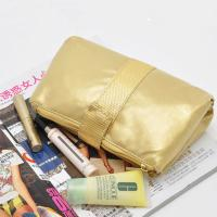 Wholesale Portable Toiletry PU Leather Folding Cosmetic Bag  Golden Color For Travel from china suppliers