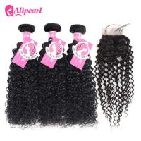 Wholesale Brazilian Virgin Hair 4 Bundles With 4×4 Lace Closure Kinky Curly Wave Hair from china suppliers