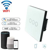 Wholesale EU Standard Wifi Light Switch Wall Switch Wireless Smart Switch 220v APP Control with Alexa/google home 1/2/3 Gang from china suppliers