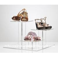 Square Design Three Tier Acrylic Display Stand Rack For Shoes for sale
