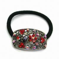 Wholesale Rhinestone Ponytail Hairband, Made of Metal Alloy, Decorated with Czech Stones from china suppliers