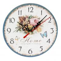 Wholesale Rose Flower Rose Butterfly Home Wall Clock Retro Style Wall Clock Home Nursery Living Room Bar Clock Decor from china suppliers