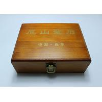 China Custom Handmade Lacquered Wooden Box , Brown Color Hinged Lid Wooden Crate Boxes With Gold Logo for sale