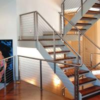Wholesale 304 Polished Stainless Steel or Black Cast iron Hidden Double Stringers Support Straight Staircase from china suppliers