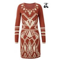 Wholesale Jacquard Pattern Ladies Sweater Dresses Scoop Neck Long Sleeve OEM Service from china suppliers
