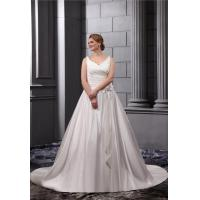 Wholesale Elegant V Neck Satin White Ruffle Plus Size Wedding Gowns With Sash Long Bridal Dresses from china suppliers