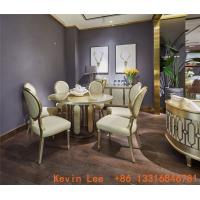 Wholesale Luxury dining room furniture circle table on golden leaf painting with Stainless steel legs used by Beech wood chairs from china suppliers