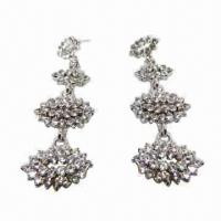 Wholesale Fashionable Stud Earrings, Rhinestone Group Design from china suppliers