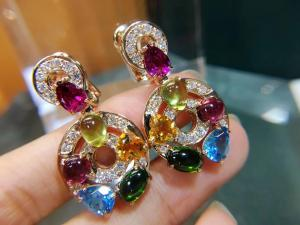 Wholesale Astrale earrings 18k yellow gold set with blue topaz, green tourmaline, peridot, citrine and red garnet set with diamond from china suppliers