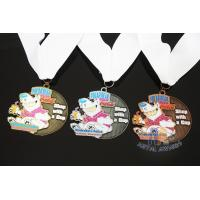 Buy cheap Soft Enamel Sports Medals And Ribbons With Black Nicekl Plating , Sublimated from wholesalers