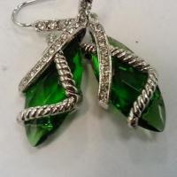 Wholesale (E-27) Green cable cross drop earrings Women girl silver Plated Crystal Dangle Earrings from china suppliers