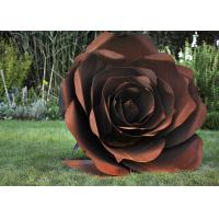 Buy cheap Rose Flower Corten Steel Sculpture , Rusted Metal Garden Sculptures from wholesalers