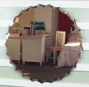 China Wavy edge round beveled  frameless mirror on sale