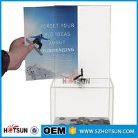 Quality customized hot sale clear acrylic donation box with locks high quality for sale