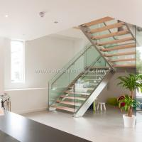 Wholesale 304 s.s Double Steel Stringer Straight Glass Railing Staircase with Wooden Tread from china suppliers