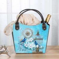 China Multifunctional Home Decoration Colorful Shoulder Wine Basket with Bird Cage Flower Pattern Portable Beer Gift Baskets for sale