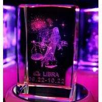 China Libra Laser Etched Crystal Cube on sale
