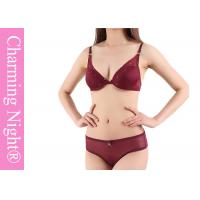 Wholesale OEM / ODM Rhinestone Sexy Push Up Ladies Bra Sets With Sheet Panties from china suppliers