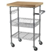 China Chrome Finish Wire Cart with Wheels Wood Shelf Use in Restaurant 21W X 14D X 36H for sale