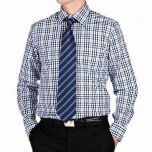 Men s dress shirt convertible cuff 100 cotton fabric check fabric