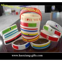 Cheap Custom Laser-made silicone wristbands/ bracelets with country flag for sale