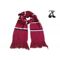 Wholesale Red And White Knit Sweater Scarf , Striped Scarf With Fringe And Embroidery from china suppliers