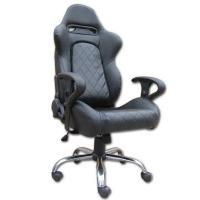 China Mult - function Gray + Black Leather Executive Office Chair Lounge With Metal Frame on sale
