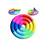 China Custom PVC Rainbow Inflatable Pool Floats For Adults / Colorful Swimming Pool Floating Raft on sale