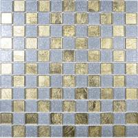 China 4mm thickness glass material square shaped golden crystal glass mosaic tile floor on sale