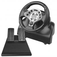 Buy cheap video game steering wheel racing wheel with foot pedal for PC PC360 PS2 PS3 from Wholesalers