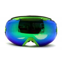 Quality Double Lens green Mirrored Ski Goggle three layer foam for adult for sale