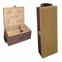 Wholesale Leather Wine Boxes with Two Bottles and 5 Accessories from china suppliers