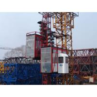 Red Construction Material Hoists Twin Cage , Electric Ladder Lift for sale