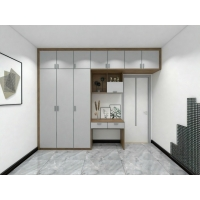 Buy cheap Custom Made Cloth Wardrobe With Hinge Door And Writing Desk For Single Bedroom from wholesalers