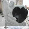 Carved Angel Embrace Black Heart Shape Granite Tombstone, Shanxi Black  for sale