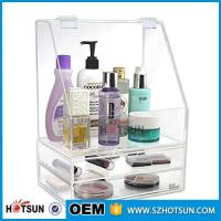 Wholesale Diamond Handle Clear Acrylic Makeup Organizer, Acrylic Makeup Drawer Box, Flip Cover Acrylic Cosmetic Storage Boxes from china suppliers