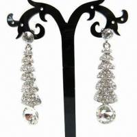Wholesale Drop Earrings, Pinetree-shaped with Clear Rhinestone from china suppliers