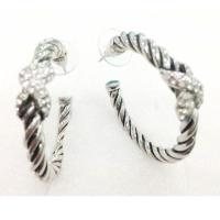 Wholesale (E-34) Fashion Jewelry High Quality Silver Plated Pave Cubic Zircon X Hoop Earrings from china suppliers
