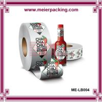 Wholesale Silver PET label sticker for glass bottle/Water-proof adhesive stickers/Roll packed stickers ME-LB004 from china suppliers