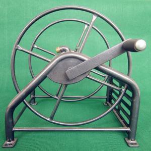 China Heavy Duty Metal Garden Hose Reel With Folding Free Wheeling Crank Handle on sale