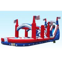 Wholesale Outdoor 18Foot Hignt Inflatable Water Slides All American Flag With Slip Slide from china suppliers