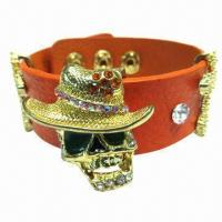 Wholesale PU Leather Bracelet with Skull Heads Metal Accessory from china suppliers