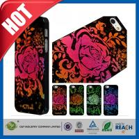 Wholesale Lady Red Glitter Flowers Plastic Luxury Apple Cell Phone Cases Back Covers For Iphone 5 / 5S from china suppliers