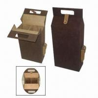 Wholesale Wine Holder for 2 Bottles, with PVC Leather Exterior and Fully Velvet Lining from china suppliers