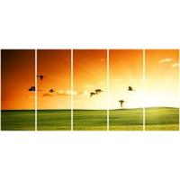 Wholesale 5 panel panoramic canvas prints with birdsky grassland from china suppliers