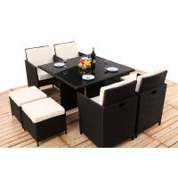Buy cheap 8CM Thickness Cushion Rattan Dining Table And Chairs 4PCS Ottoman Covered from wholesalers