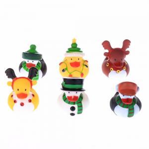 Floating Christmas Miniature Rubber Ducks Ornament Eco - Friendly PVC Toy