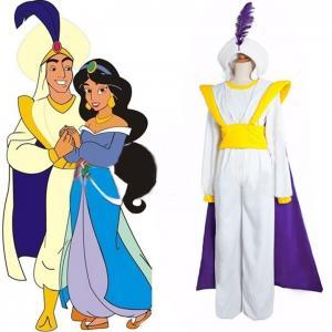 China Princess Dress Wholesale White Twill Quality Aladdin Lamp Costume Anime Movie Game Prince Cosplay Dress XXS to XXXL on sale
