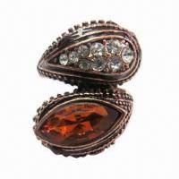 Wholesale Anti-dark copper ring with shiny rhinestones and large resin stone from china suppliers
