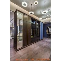 Wholesale Custom made wardrobe closet built in cabinets open door Armoire with Mirror stand by Metal handle for hotel and villa from china suppliers